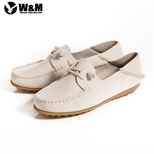 米蘭皮鞋 2014春夏新品 W&M 可水洗柔軟防滑鞋底 豆豆鞋莫卡辛鞋女鞋 米(另有淺藍)