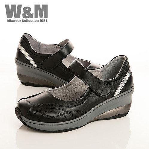 W&M 曲線壓現造型魔鬼氈黏釦帶淑女鞋-黑(另有銀光紫)