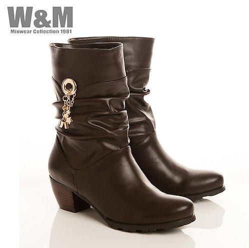W&M 個性金屬鍊流蘇女中筒靴-紅(另有黑)