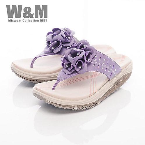 米蘭皮鞋W&M 2014 FIT 鑽飾花造型健走族健塑鞋拖鞋女鞋-紫(另有黃)