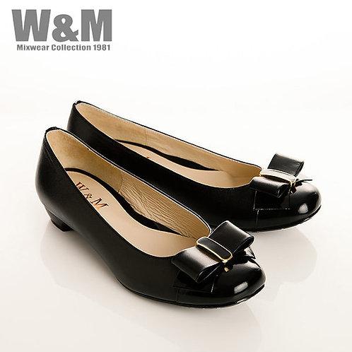 W&M 真皮漆皮蝴蝶結包頭低跟女鞋-黑(另有粉)