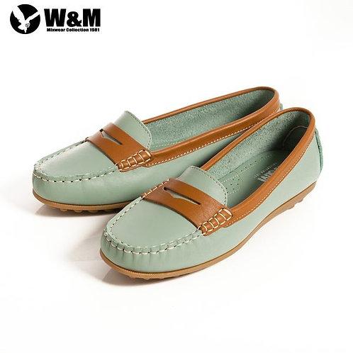 米蘭皮鞋 2014春夏新品 W&M 俏皮配色柔軟 可水洗防滑鞋底豆豆鞋莫卡辛鞋女鞋 淺藍(另有粉、黃