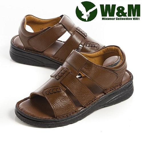【W&M】 手工縫線魔鬼氈軟墊厚底涼鞋男鞋 棕(另有鐵灰)