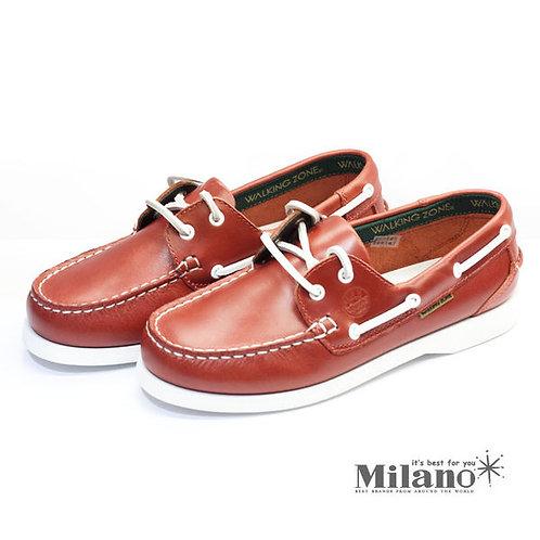 米蘭皮鞋~Milano~* 【WALKING ZONE】英倫 真皮手工車縫帆船鞋(紅) ~