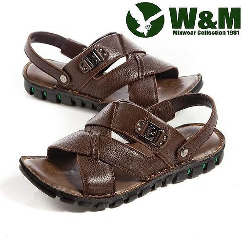 【W&M】 寬帶交叉防滑軟墊兩用涼拖鞋男鞋 咖(另有黑)