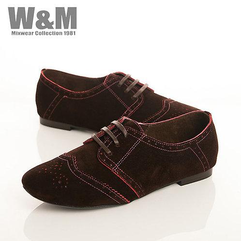 W&M 真皮麂皮綁帶沖孔休閒女鞋-咖(另有黑、紅)