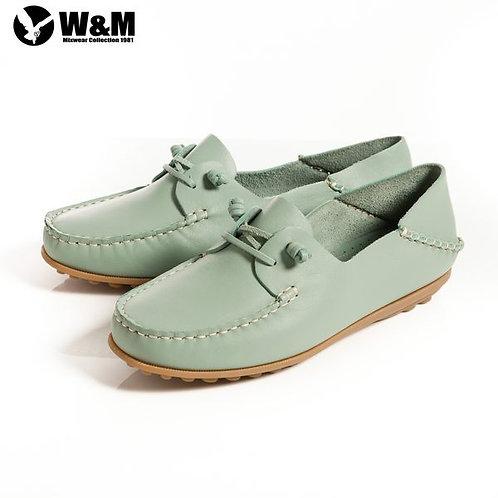 米蘭皮鞋 2014春夏新品 W&M 可水洗柔軟防滑鞋底 豆豆鞋莫卡辛鞋女鞋 淺藍(另有米)