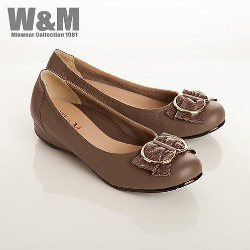 W&M 復古優雅蝴蝶結配飾女鞋 灰咖