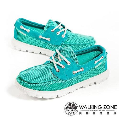 米蘭~WALKING ZONE 皮革穿繩透氣懶人鞋女鞋-水藍(另有桃、綠)