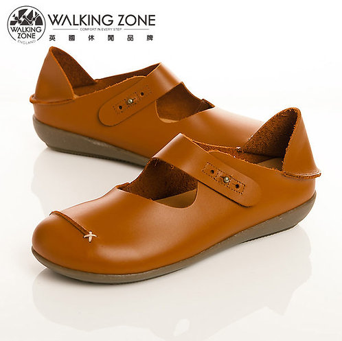 WALKING ZONE 簡約舒適耐走真皮休閒鞋女鞋-棕(另有黑、紅、橘)