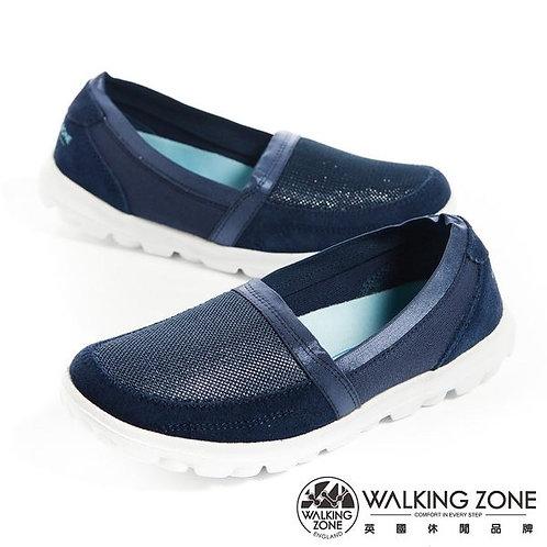 米蘭~WALKING ZONE 亮蔥直套懶人鞋國民便鞋女鞋-藍(另有銀)
