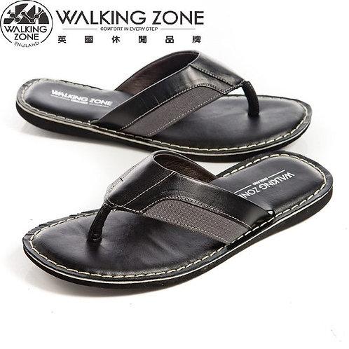 WALKING ZONE舒適氣墊 皮革夾腳拖鞋 黑(另有棕)
