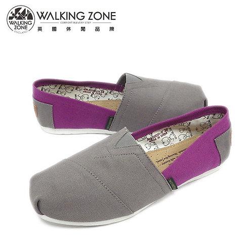 WALKING ZONE 悠閒步伐輕巧國民便鞋女鞋-灰(另有橘、綠、藍、粉)