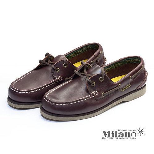 米蘭皮鞋~Milano~* 【WALKING ZONE】英倫 真皮手工車縫帆船鞋(咖) ~