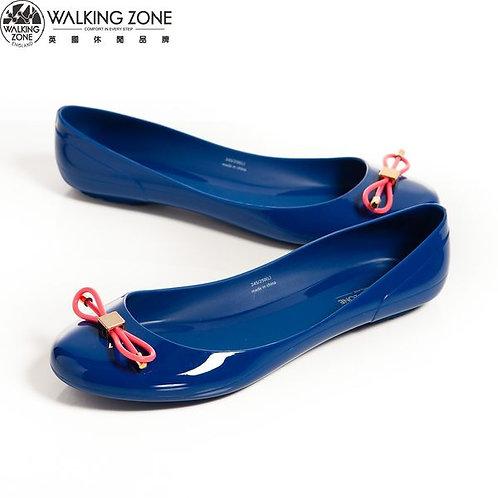 2014 WALKING ZONE 韓版蝴蝶結亮麗配色果凍鞋-深藍(另有淺藍、黃、桃、黑)