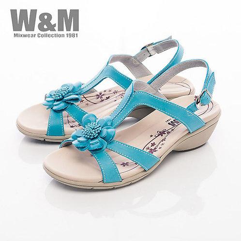 米蘭皮鞋W&M 百搭太陽花造型扣環式涼鞋女鞋-藍