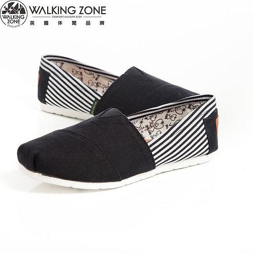WALKING ZONE 條紋側邊 悠閒步伐輕巧國民便鞋女鞋-黑(另有藍、米)