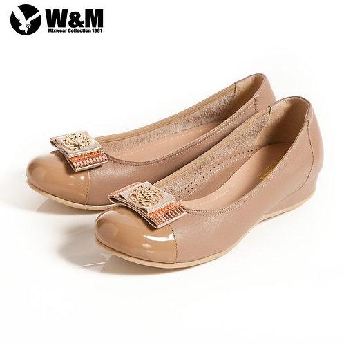 米蘭皮鞋 W&M 立體花編造型寬帶蝴蝶結 優雅舒適低跟鞋 卡其(另有黑)