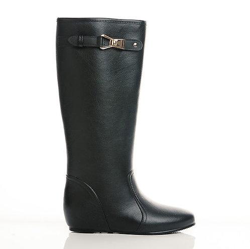 W&M 精緻金屬釦飾內增高女長筒雨靴-黑(另有深藍)