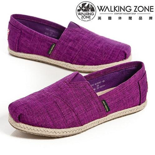 WALKING ZONE 斜車素面編織風樂福鞋女鞋-紫(另有米、深藍)