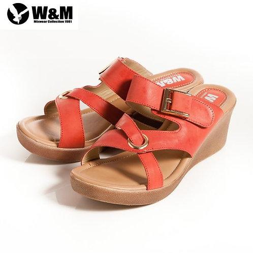 2014春夏新品 W&M 優雅舒適金屬環 交叉透氣涼鞋楔型鞋 紅(另有土黃)