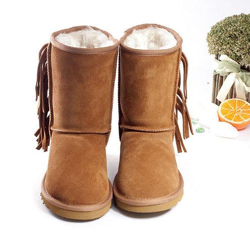 米蘭* 【WALKING ZONE】麂皮水鑽絨毛內裡雪靴 卡其