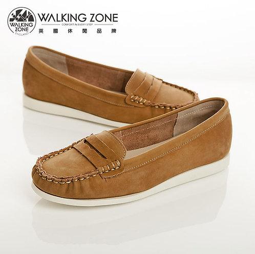 WALKING ZONE 真皮簡約休閒莫卡辛鞋女鞋-棕(另有桃)