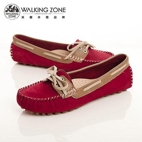 WALKING ZONE 蝴蝶結穿繩豆豆鞋莫卡辛鞋女鞋-紅(另有黃、粉、咖)