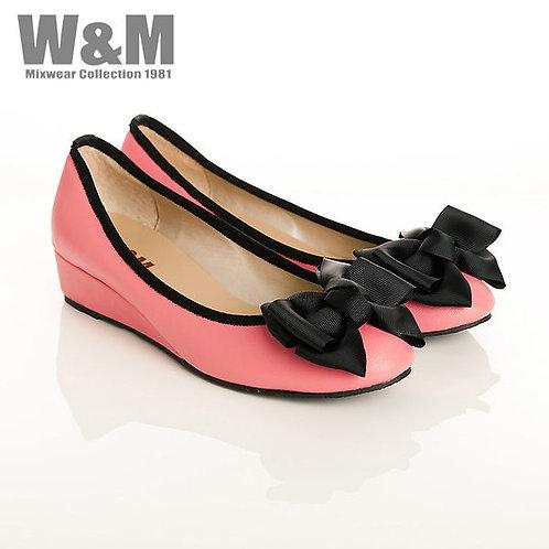 W&M 真皮緞帶蝴蝶結船型鞋楔型女鞋女鞋-粉(另有灰)