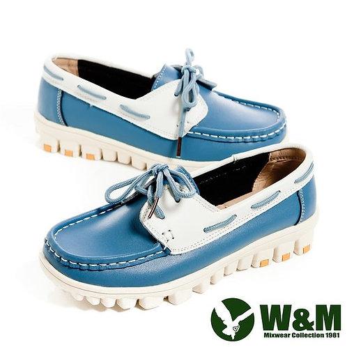 米蘭~W&M 亮眼配色皮革穿繩懶人鞋女鞋-藍(另有白、桃)