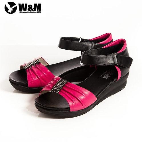 2014春夏W&M 耀眼亮鑽 魔鬼氈淑女中低跟平底涼鞋 桃(另有黑、米)