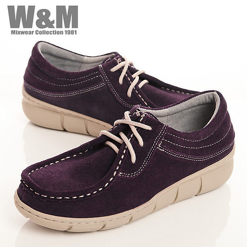 W&M 時尚玩色綁帶麂皮休閒女鞋-紫(另有黃、藍)