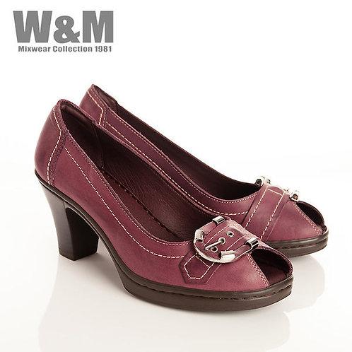 W&M 真皮皮帶造型魚口鞋女高跟鞋-紫(另有黑)