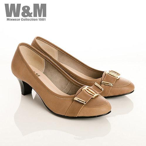 W&M 真皮奢華金屬皮帶飾包頭女高跟鞋-淺咖(另有黑)