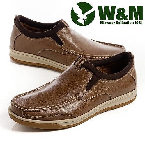 【W&M】好穿好走舒適跟著走 直套休閒男鞋 咖(另有灰、黑)