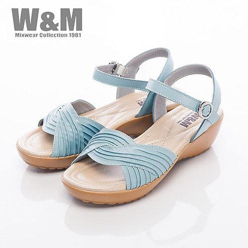 米蘭皮鞋W&M 寬版皺褶交叉帶扣環涼鞋女鞋-淺藍(另有白)