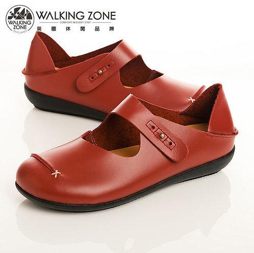 WALKING ZONE 簡約舒適耐走真皮休閒鞋女鞋-紅(另有黑、棕、橘)