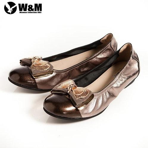 米蘭皮鞋 2014 W&M 金屬片蝴蝶結 優雅時尚好穿搭柔軟平底鞋 銀(另有黑)