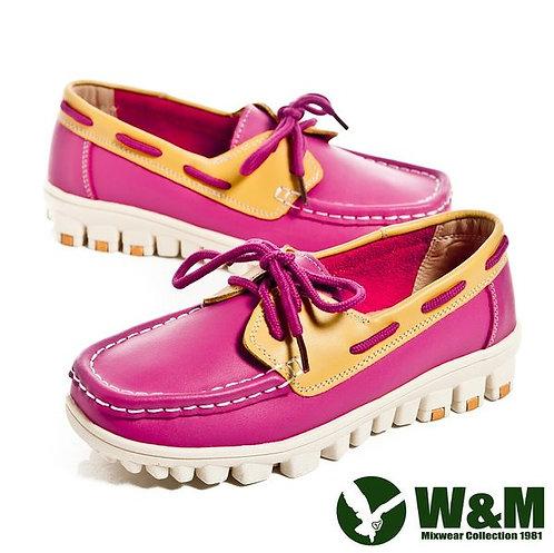 米蘭~W&M 亮眼配色皮革穿繩懶人鞋女鞋-桃(另有藍、白)