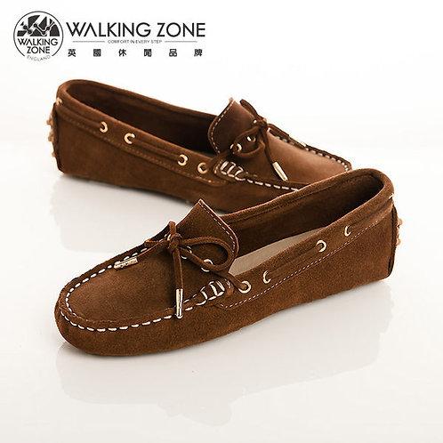 WALKING ZONE 金屬束尾 麂皮蝴蝶結穿繩豆豆鞋莫卡辛鞋女鞋-棕(另有灰)