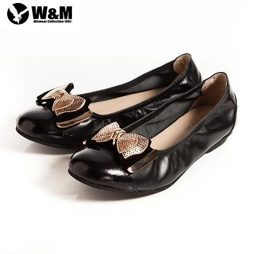 米蘭皮鞋 2014 W&M 金屬片蝴蝶結 優雅時尚好穿搭柔軟平底鞋 黑(另有銀)