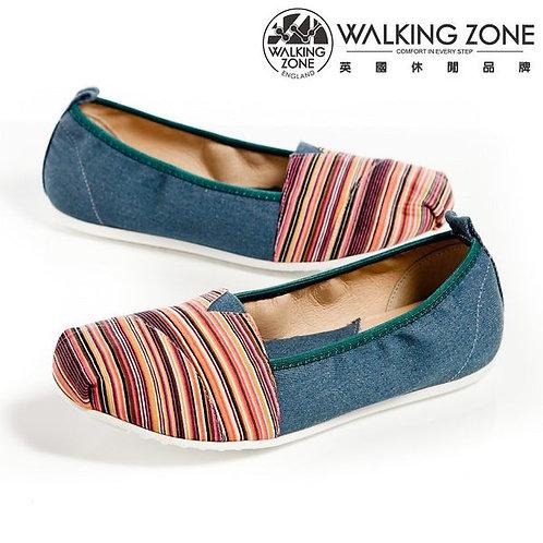WALKING ZONE粉色系多彩斜車輕盈便鞋 豆豆鞋-藍