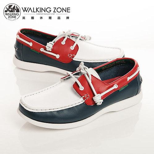 WALKING ZONE 英倫真皮紅白藍帆船鞋男鞋-白
