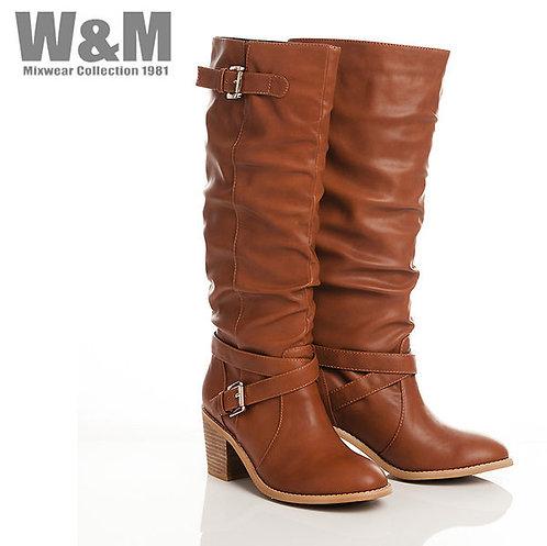 W&M 個性腳踝交叉帶釦飾造型女長靴-棕(另有黑)