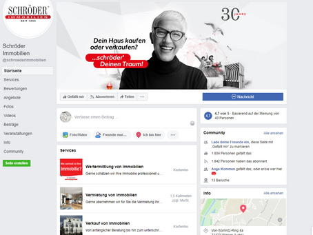 Socialmedia Marketing und Redaktion für SCHRÖDER IMMOBILIEN