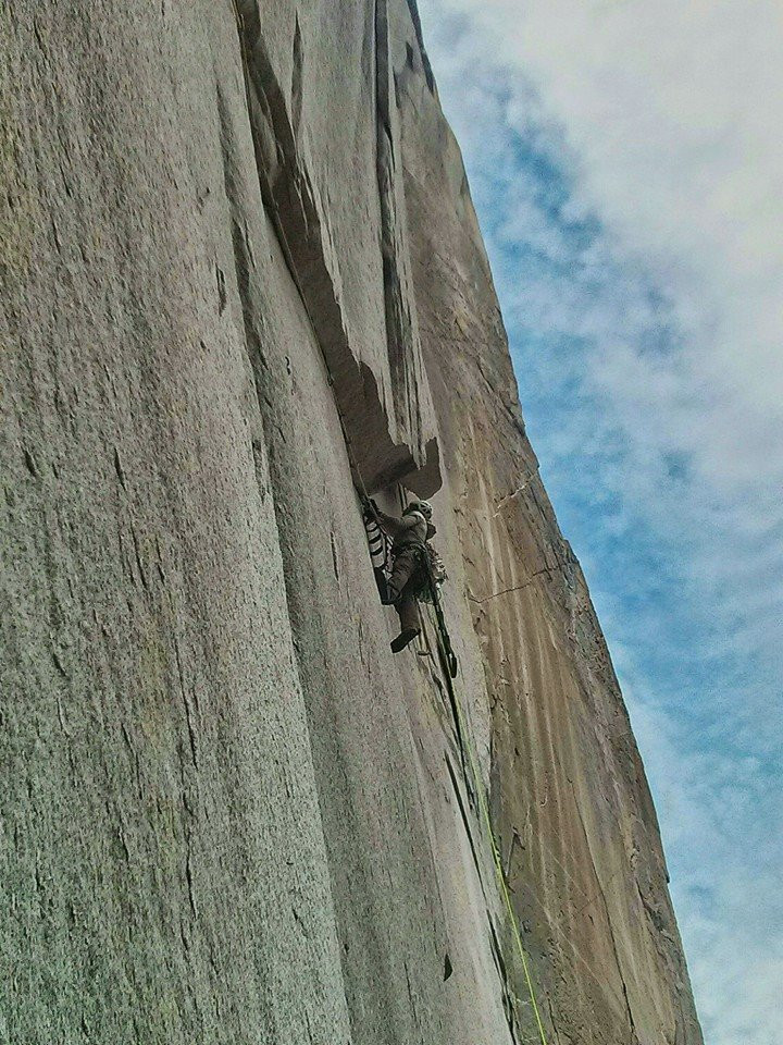 "Leading ""The Nipple"". The most recognizable pitch on the route. Photo: Andy Reger"