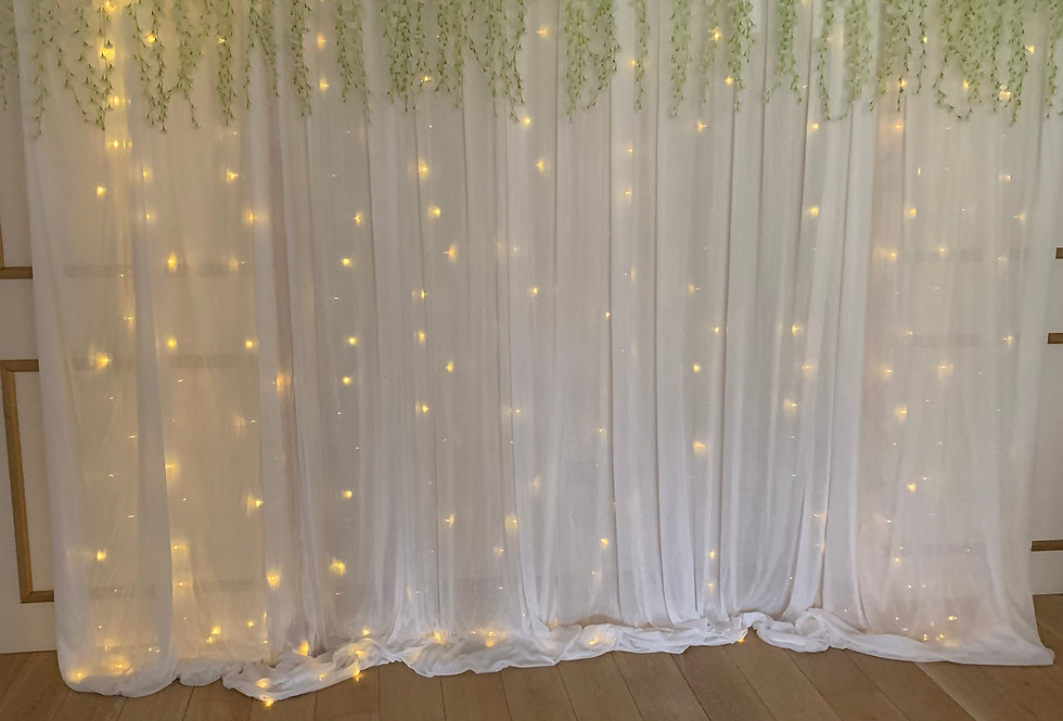 Fabric Backdrop with Wisteria Topper & Fairy Lights