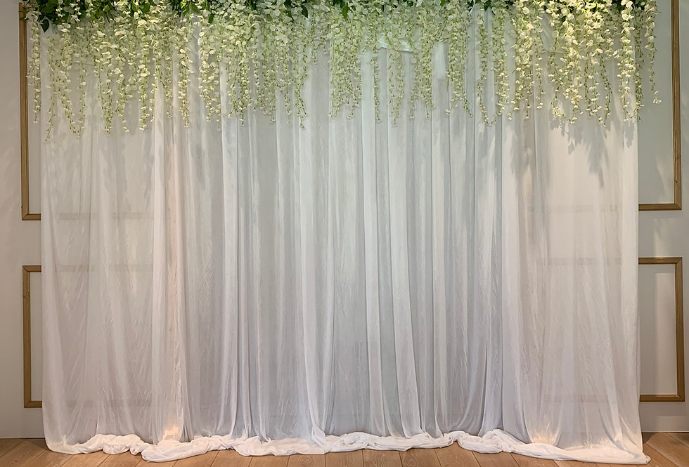 Fabric Backdrop with Wisteria Topper