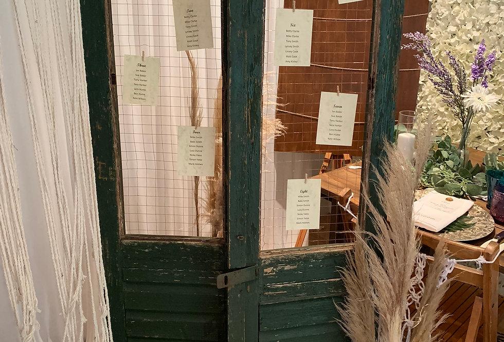 Rustic Door Seating Plan