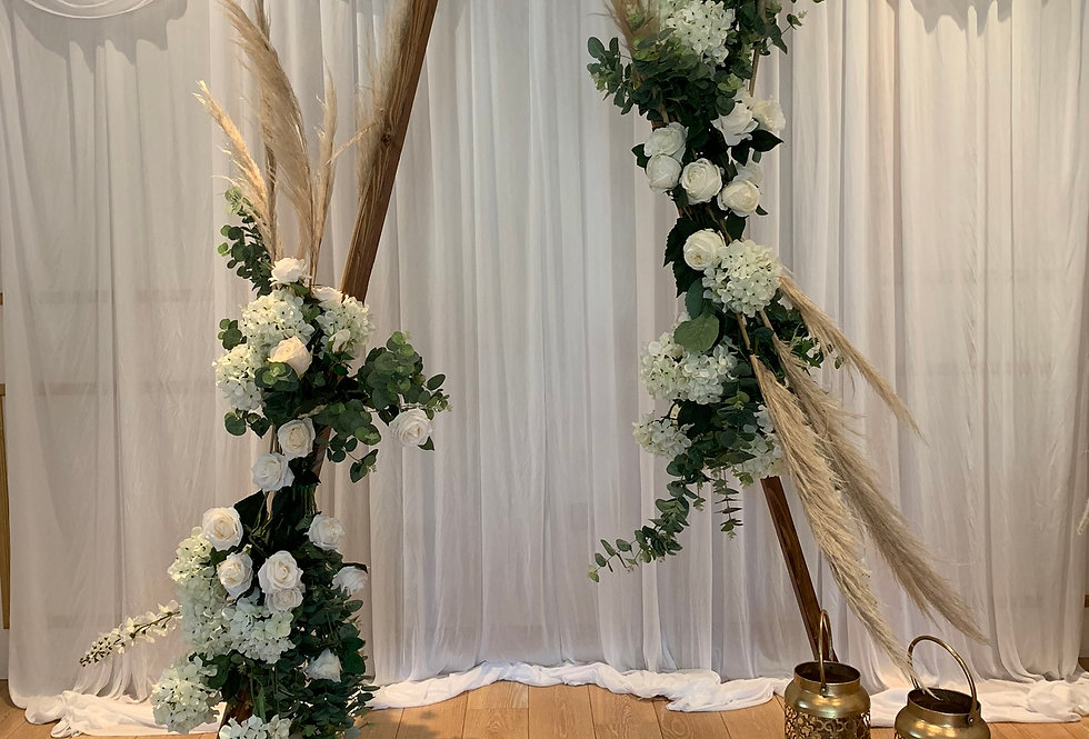 Triangle Arch - Floral Garlands & Pampas